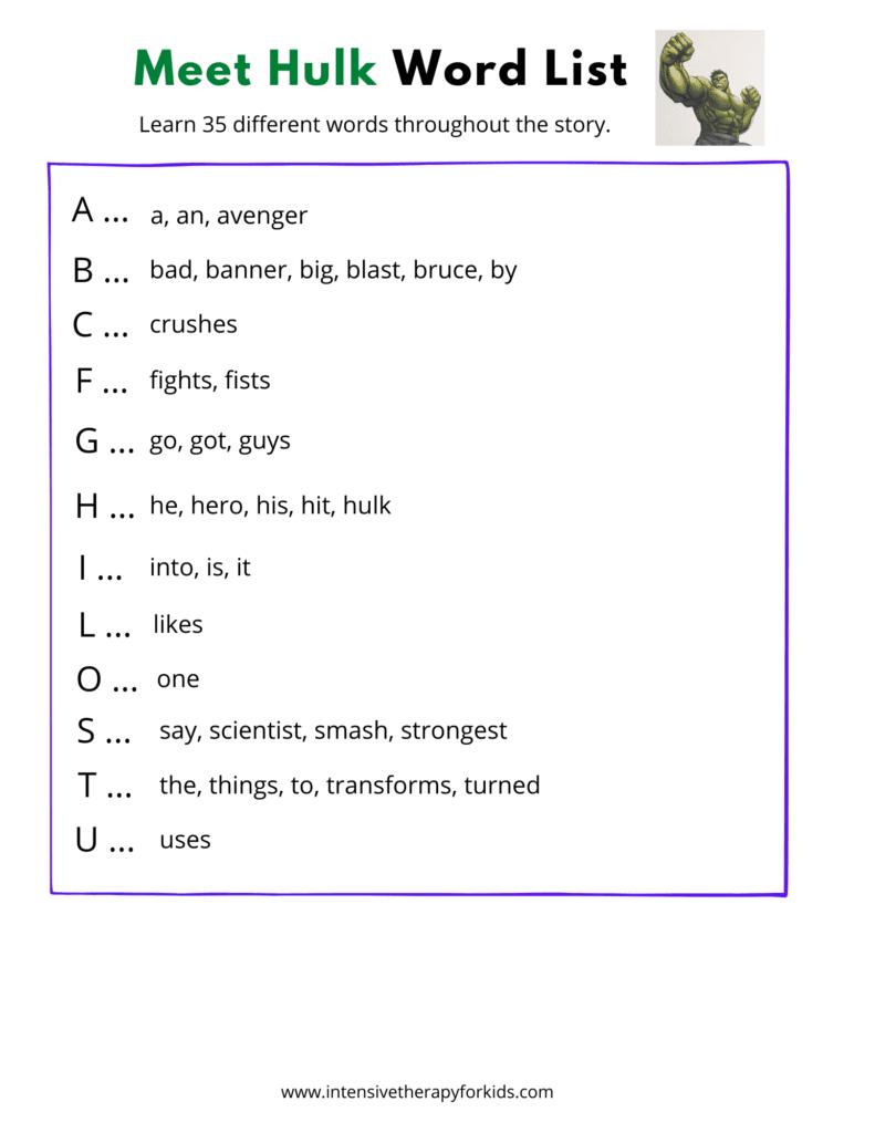 Meet-Hulk-Word-List